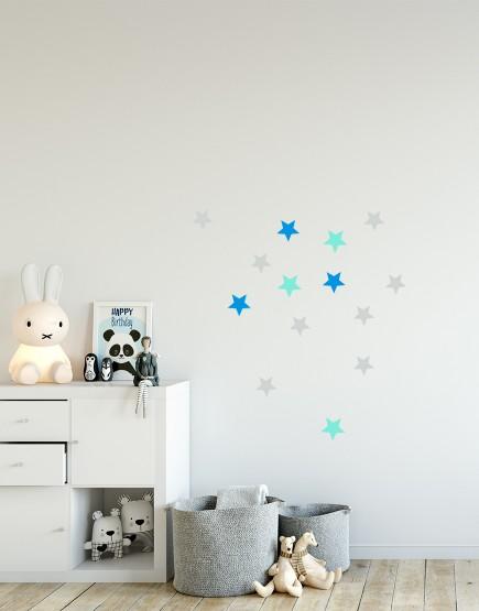 Žvaigždės. Spalvotas sienų dekoracijų rinkinys berniukui