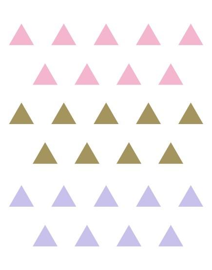 Trikampiai. Spalvotas sienų dekoracijų rinkinys mergaitei