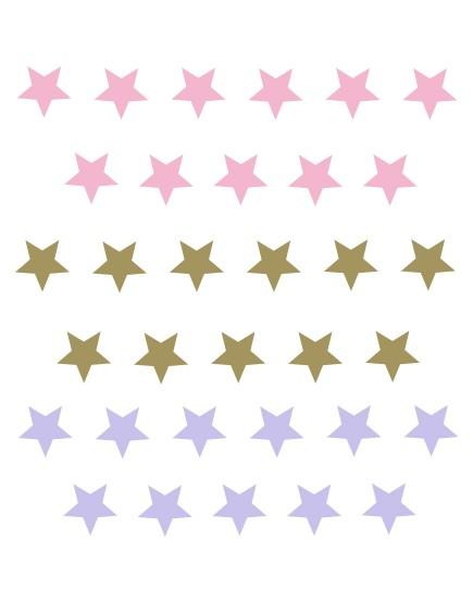 Žvaigždės. Spalvotas sienų dekoracijų rinkinys mergaitei