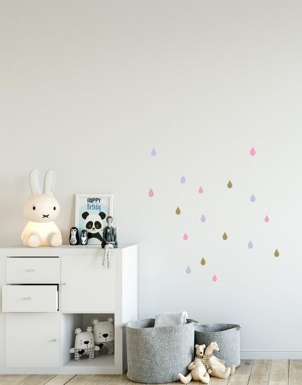 Lašeliai. Spalvotas sienų dekoracijų rinkinys mergaitei