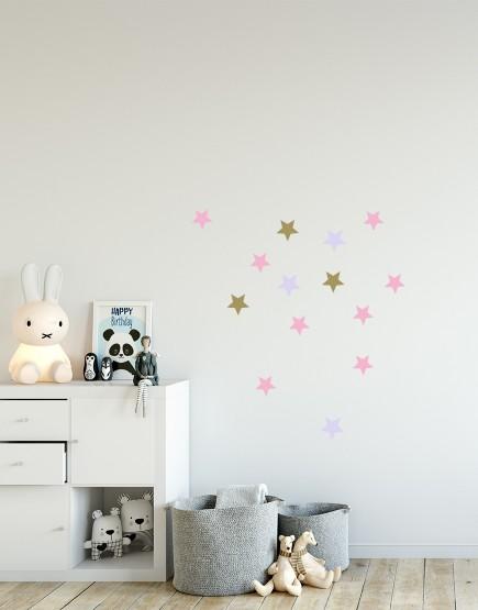 Taškeliai. Spalvotas sienų dekoracijų rinkinys mergaitei