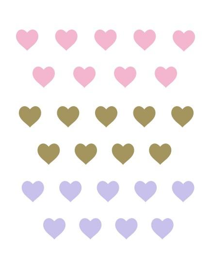 Širdelės. Spalvotas sienų dekoracijų rinkinys mergaitei