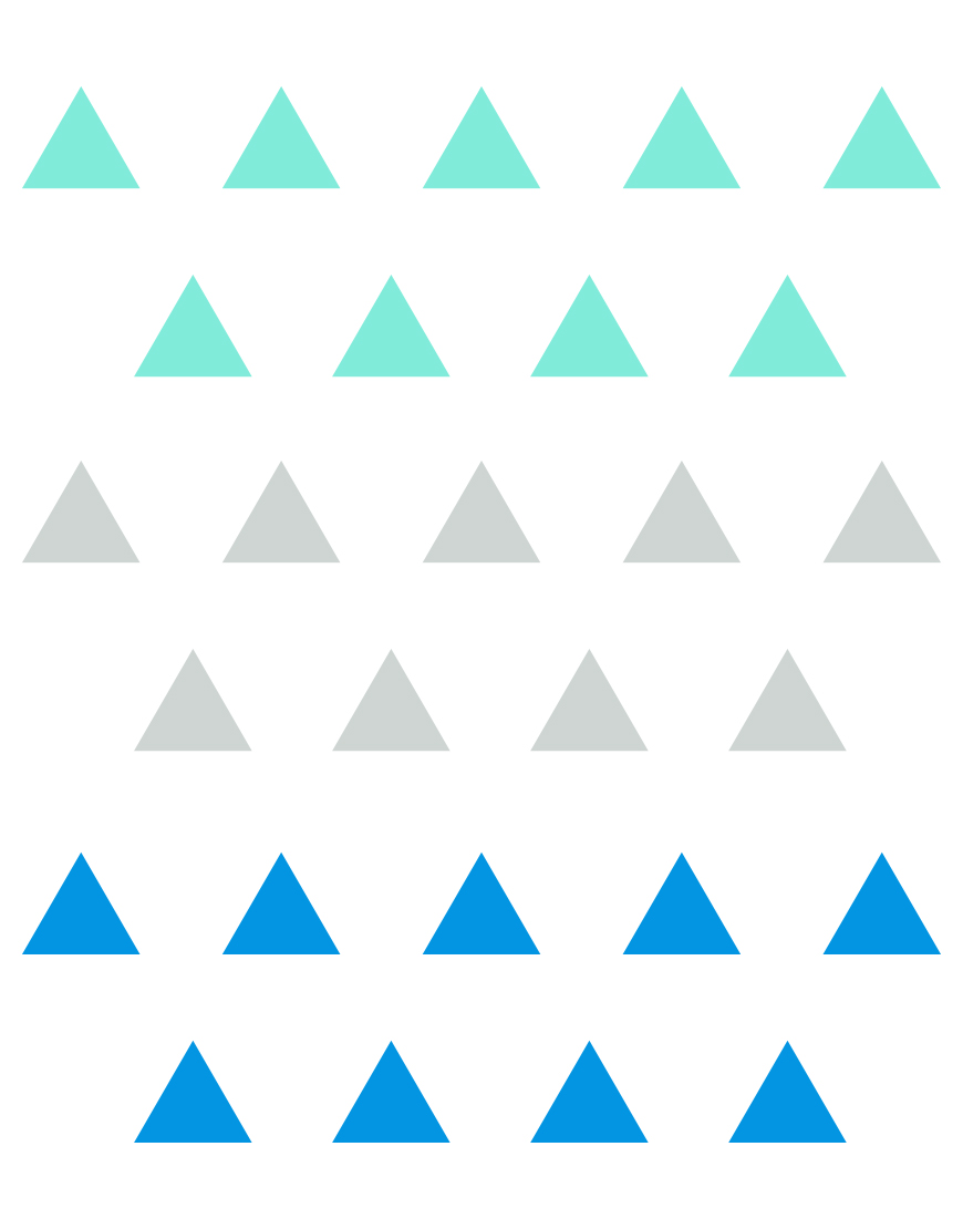 Trikampiai. Spalvotas sienų dekoracijų rinkinys berniukui