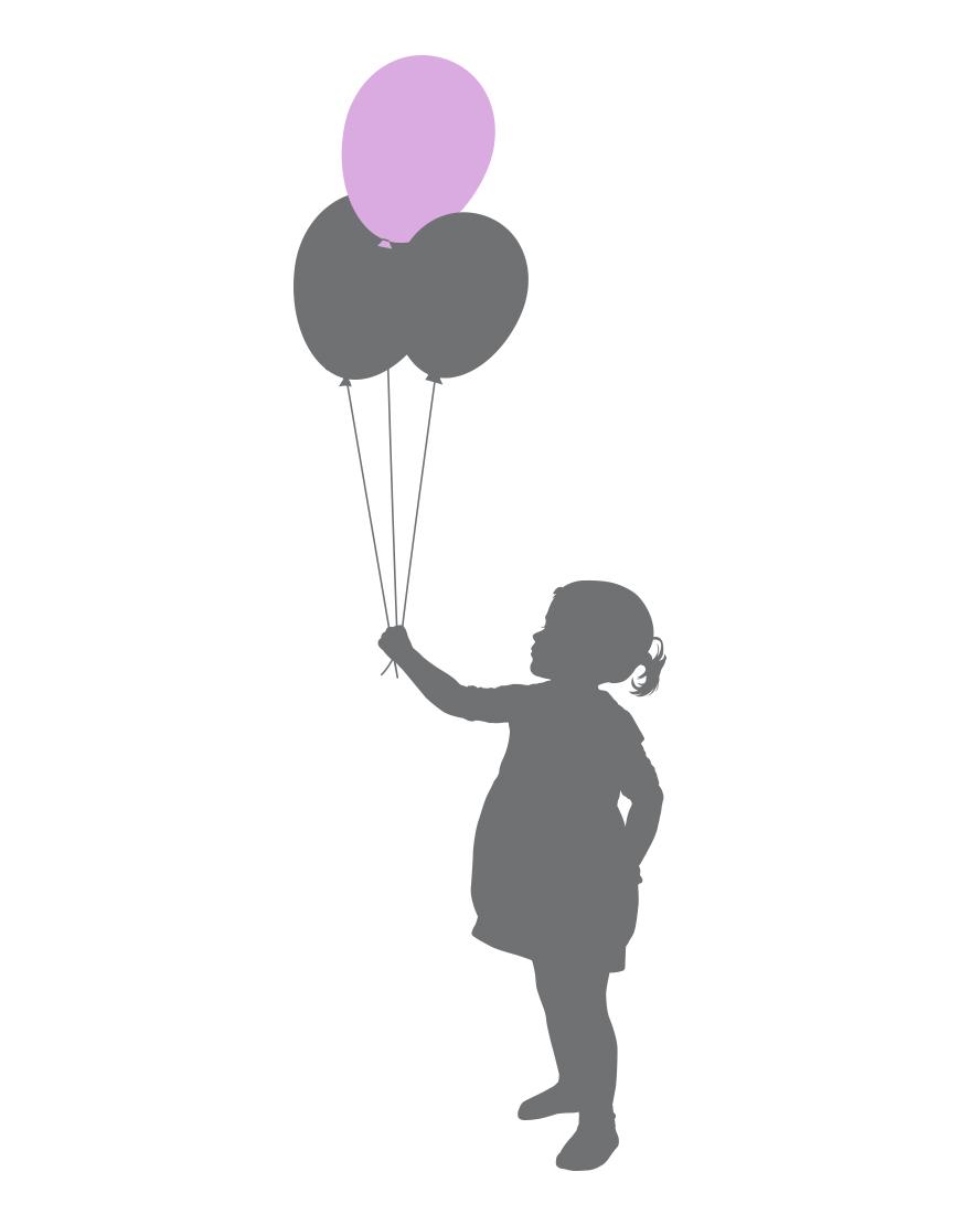Mergaitė su balionais. Stilinga interjero detalė