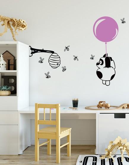 Meškutis ir bitės. Sienų dekoracija