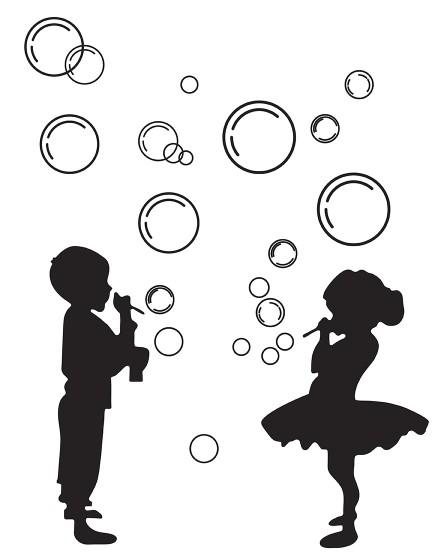 Vaikai pučia burbulus  . Interjero dekoracija.