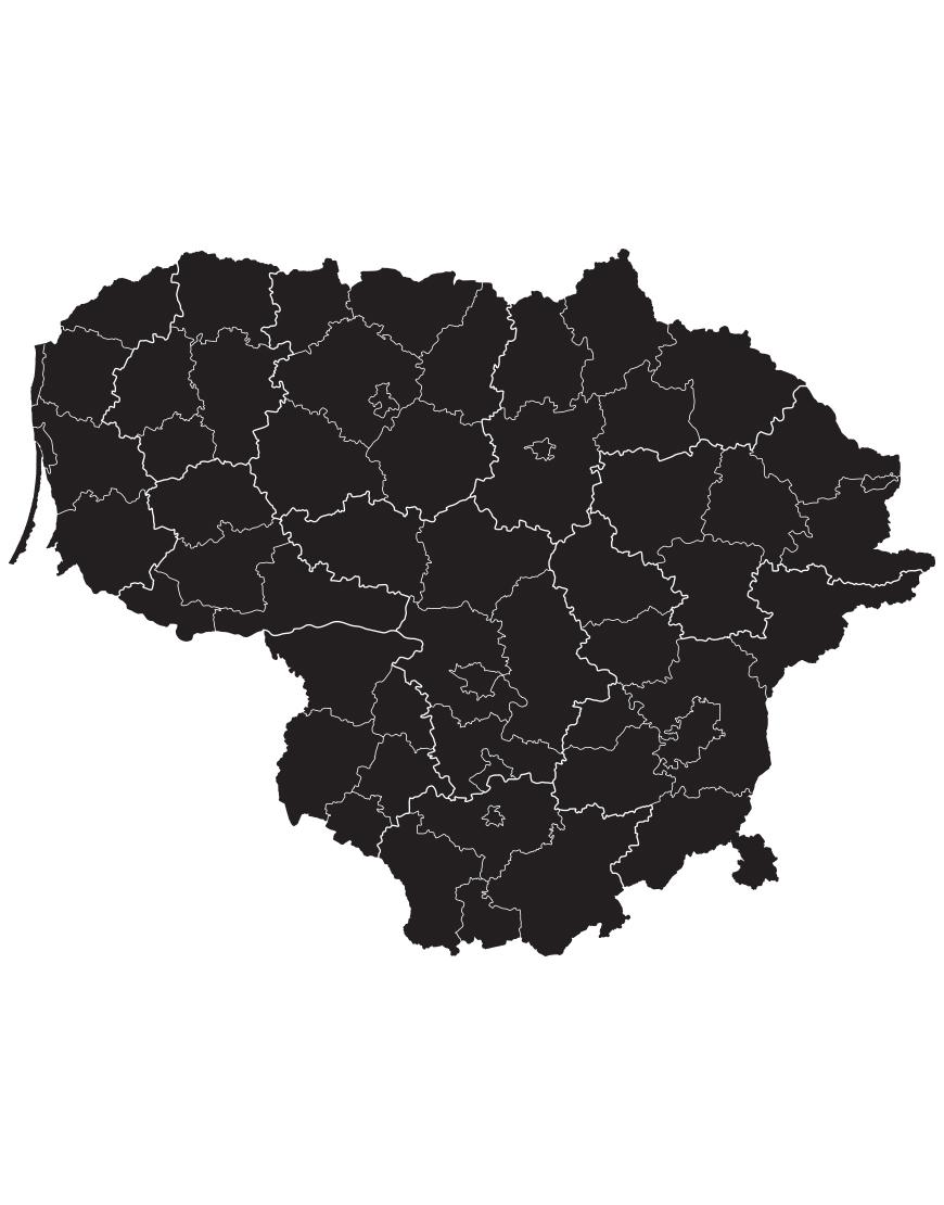 Lietuvos žemėlapis. Interjero lipdukas.