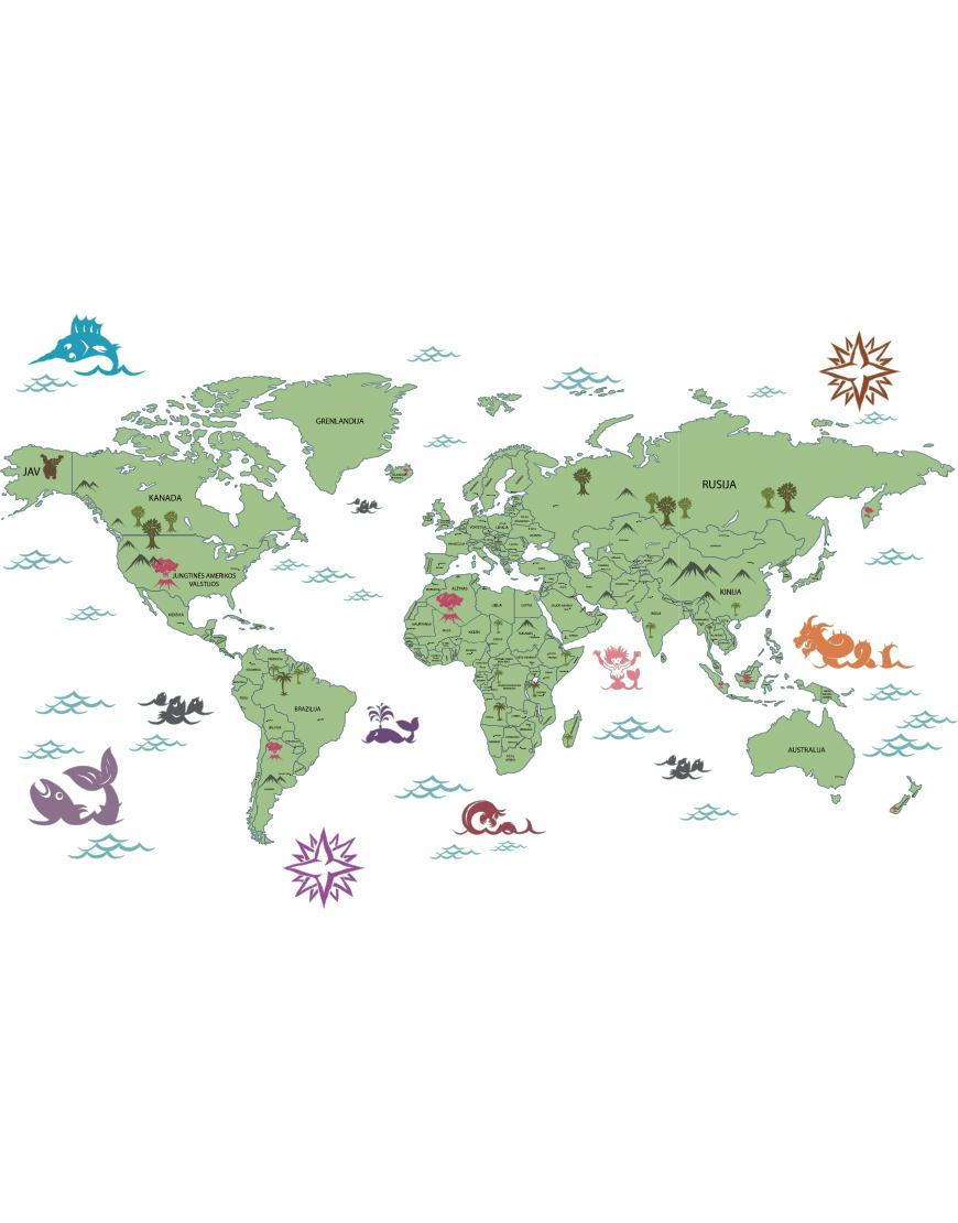 Pasaulio žemėlapis lietuvių kalba . Interjero detalė