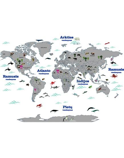 Pasaulio šalių žemėlapis lietuvių kalba su gyvūnais . Interjero detalė